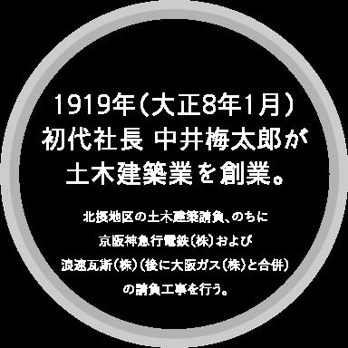 1919年(大正8年1月)初代社長 中井梅太郎が土木建築業を創業。